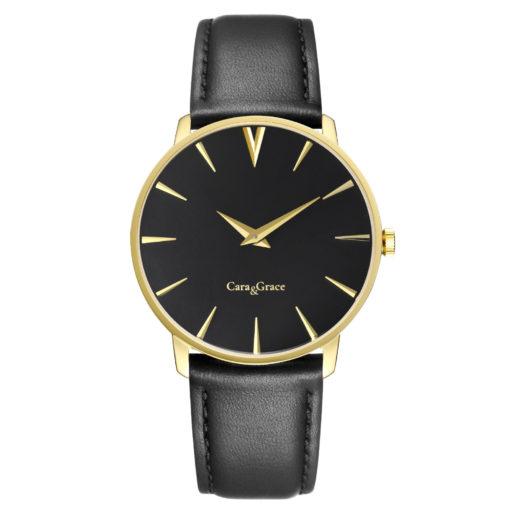 Goldene Armbanduhr mit schwarzem Zifferblatt und schwarzem Lederarmband