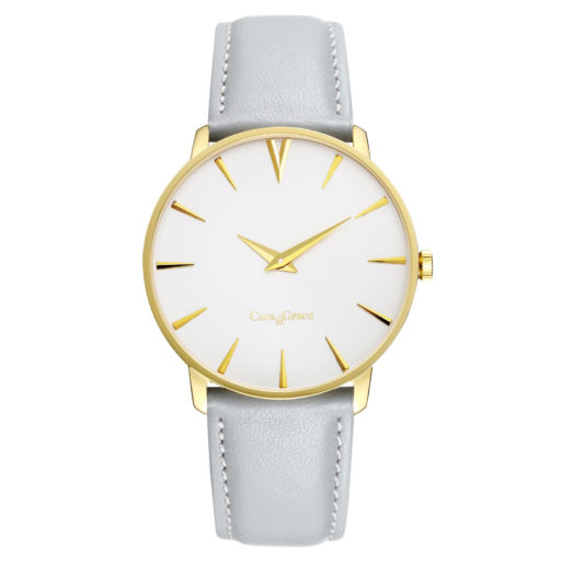 Golden Watch with White dial and Grey Italian leather strap